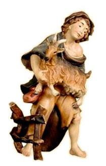 Bild Krippenfiguren Thomas Hirt mit Ziege aus Ahornholz geschnitzt