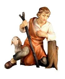 Bild Krippenfiguren Joshua Hirte kniend aus Ahornholz geschnitzt