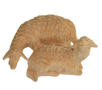 Bild Krippenfigur Schafgruppe handgeschnitzt aus Zirbenholz