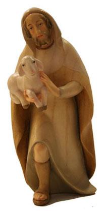 Bild Krippenfigur Thomas modern Hirt mit Lamm im Arm aus Ahornholz geschnitzt