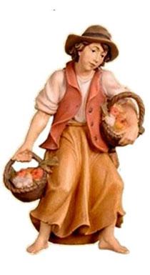 Bild Krippenfigur Thomas Hirt mit Obst und Gemüse aus Ahornholz geschnitzt