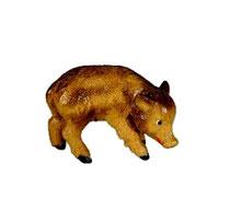 Bild Krippentier Frischling fressend aus Ahornholz geschnitzt