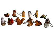 Bild Schlüsselanhänger Tiere BC-5 handgeschnitzt aus Holz