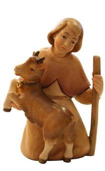 Bild Krippenfigur Thomas modern Hirtenjunge mit Ziege aus Ahornholz geschnitzt