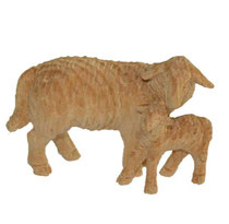 Bild Krippenfigur Schaf stehend mit Lamm handgeschnitzt aus Zirbenholz