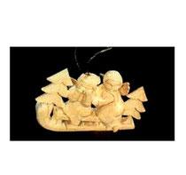 Baumschmuck Engel auf Schlitten aus Holz