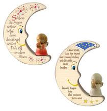 Bild Mond mit Engel aus Holz