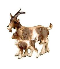 Bild Krippentier Ziege mit Zicklein aus Ahornholz geschnitzt