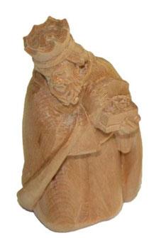 Bild Krippenfigur König kniend handgeschnitzt aus Zirbenholz