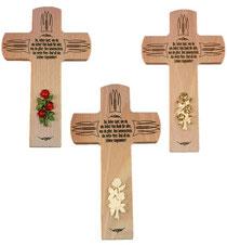 Bild Gebetskreuz mit Rose aus Holz