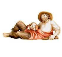 Bild Krippenfigur Thomas Hirt liegend aus Ahornholz geschnitzt