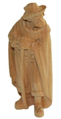 Bild Krippenfigur Hirt stehend mit Stock handgeschnitzt aus Zirbenholz