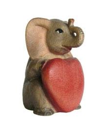 Bild Elefant mit Herz Nr. 1094 aus Ahornholz geschnitzt