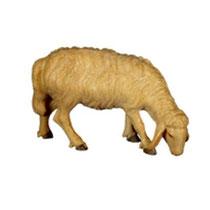 Bild Krippentier Schaf fressend rechts aus Ahornholz geschnitzt