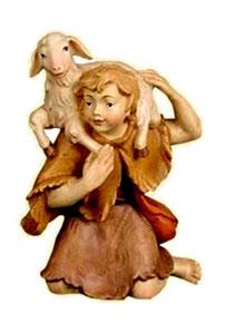Bild Krippenfigur Thomas Hirt mit Schaf auf Schulter aus Ahornholz geschnitzt