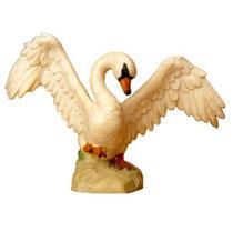 Bild Krippentier Schwan fliegend aus Ahornholz geschnitzt
