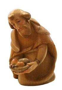 Bild Krippenfigur Thomas modern Hirt mit Gaben aus Ahornholz geschnitzt