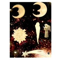 Bild Baumschmuck Mond, Sonne, Nikolaus, Engel, Kometstern aus Holz