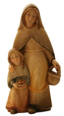 Bild Krippenfigur Thomas modern Hirtin mit Kind aus Ahornholz geschnitzt