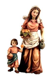 Bild Krippenfigur Joshua Hirtin mit Kind aus Ahornholz geschnitzt
