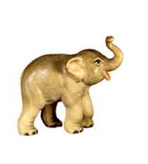 Bild Krippenfigur Thomas junger Elefant aus Ahornholz geschnitzt