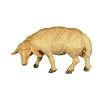 Bild Krippenfigur Schaf fressend links aus Ahornholz geschnitzt
