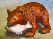 Bild Holzfigur Grizzlybär mit Fisch Nr. 424 handgeschnitzt