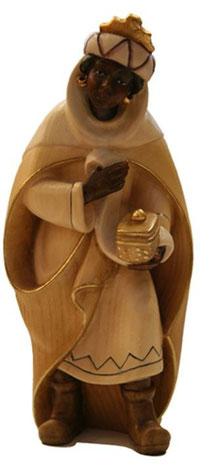 Bild Krippenfigur Thomas modern König Mohr aus Ahornholz geschnitzt