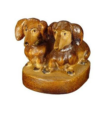 Bild Hund Dackelgruppe Nr. 1027 aus Ahornholz geschnitzt