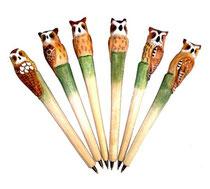 Bild Kugelschreiber Eulen handgeschnitzt aus Holz