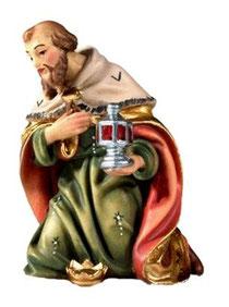 Bild Krippenfigur Joshua König kniend aus Ahornholz geschnitzt