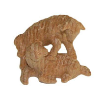 Bild Krippenfiguren Lammgruppe handgeschnitzt aus Zirbenholz