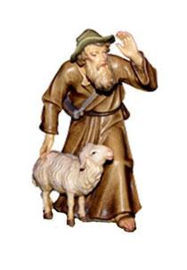 Bild Krippenfigur Thomas Hirte schauend aus Ahornholz geschnitzt