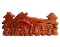 Bild 3D Schiebe-Krippe Hl. Familie mit Stall aus Holz