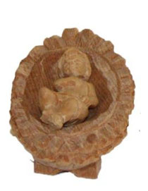Bild Krippenfigur Jesukind handgeschnitzt aus Zirbenholz