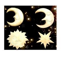 Bild Baumschmuck Mond, Sonne, Stern aus Holz