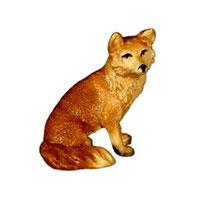 Bild Krippentier Fuchs sitzend aus Ahornholz geschnitzt
