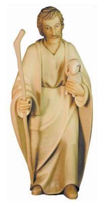 Bild Krippenfigur Hirt mit Schaf und Stab aus Ahornholz geschnitzt