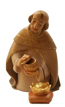 Bild Krippenfigur Thomas modern König kniend aus Ahornholz geschnitzt
