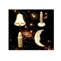 Bild Baumschmuck Glocke, Kerzen, Mond aus Holz