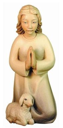 Bild Krippenfigur Mirja Hirtin kniend mit Lamm aus Ahornholz geschnitzt