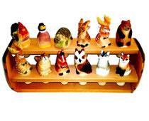 Bild Flaschenkorken Tiere gemischt Nr. 651224 handgeschnitzt aus Holz