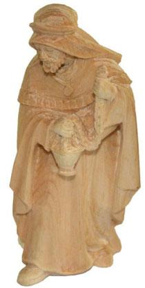 Bild Krippenfigur König Weiß handgeschnitzt aus Zirbenholz