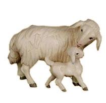 Bild Krippentier Schaf mit Lamm aus Ahornholz geschnitzt