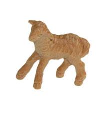 Bild Krippenfigur Lamm stehend linksschauend handgeschnitzt aus Zirbenholz