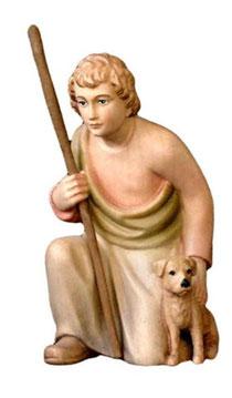 Bild Krippenfigur Mirja Hirt kniend mit Hund aus Ahornholz geschnitzt