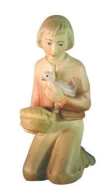 Bild Krippenfigur Mirja Hirtenbub kniend aus Ahornholz geschnitzt