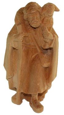 Bild Krippenfigur Hirt stehend mit Schaf auf Schulter handgeschnitzt aus Zirbenholz