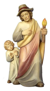 Bild Krippenfigur Mirja Vater mit erstauntem Kind aus Ahornholz geschnitzt