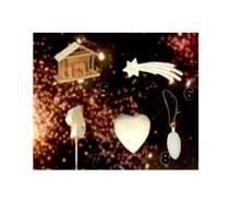 Bild Baumschmuck Krippe mini, Komet, Steckenpferd, Herz, Tannenzapfen aus Holz